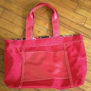 Lancome red floral tote